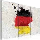 Schilderij - Kaart van Duitsland - Drieluik, Multi-gekleurd, 2 Maten, 3luik