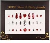 Face & Body Jewels Glitter sticker( Carnaval ): rood/ zirkonia