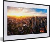 Foto in lijst - Panaroma van de Chinese stad Nanjing fotolijst zwart met witte passe-partout 60x40 cm - Poster in lijst (Wanddecoratie woonkamer / slaapkamer)