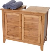 wastafelonderkast - badkamerkast - badkamermeubel- bamboe - 60x67x30 cm - bruin klein