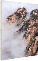 Mist in de bergen Hout 20x30 cm - klein - Foto print op Hout (Wanddecoratie)
