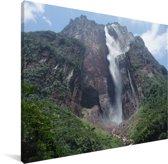 Watervallen in het Nationaal park Canaima in Venezuela Canvas 80x60 cm - Foto print op Canvas schilderij (Wanddecoratie woonkamer / slaapkamer)
