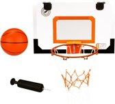New Port Mini Basketbalbord met Ring en Bal met Pomp - Transparant/Zwart/Oranje