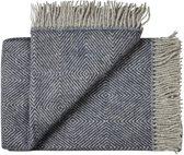 Plaid wol blauw visgraat, grote maat