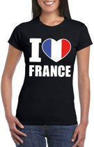 Zwart I love Frankrijk fan shirt dames XS