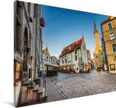 Een schitterende straat in het Stadshart van Tallinn Canvas 60x40 cm - Foto print op Canvas schilderij (Wanddecoratie woonkamer / slaapkamer)