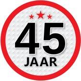 45 jaar leeftijd sticker rond 15 cm - 45 jaar verjaardag/jubileum versiering