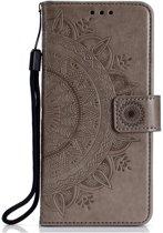 Shop4 - iPhone Xr Hoesje - Wallet Case Mandala Patroon Grijs