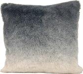 Zacht bont kussen - dip dye grijs / wit 45x45cm