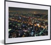 Foto in lijst - Luchtfoto van Nagoya in Azië fotolijst zwart met witte passe-partout klein 40x30 cm - Poster in lijst (Wanddecoratie woonkamer / slaapkamer)