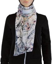 Sjaal 100% Viscose Lichtblauw Multi Color