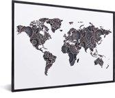 Wereldkaart muur decoratie Schillderij Zwart Roze in lijst zwart 40x30 cm - Wereldkaarten.nl