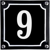 Zwart emaille huisnummer  - 9
