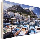 Kleurijke boten in de haven van Capri Vurenhout met planken 90x60 cm - Foto print op Hout (Wanddecoratie)