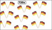 720x Cocktailprikker vlag Duitsland - Cocktail prikker Duits kaas worst tapas snack thema feest oktoberfest landen