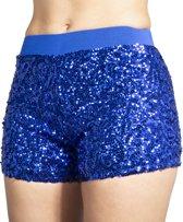 Hotpants pailletten kobalt blauw