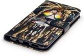 Hoesje geschikt voor Samsung Galaxy S8 Plus (S8+), 3-in-1 bookcase met print, rasta leeuw
