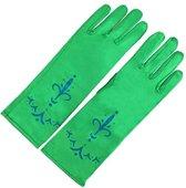 Elsa en Anna Frozen handschoenen groen bij verkleed Prinsessen jurk