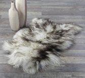 Schapenvachtje - IJslandse Schapenvacht  Gemêleerd WIT ZWART - Vloerkleed Zeer Lang Natuurlijk Haar – Ivory Dark Tops - 110 x 80 cm - 100% ECHT