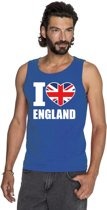 Blauw I love Groot-Brittannie supporter singlet shirt/ tanktop heren - Engels shirt heren M