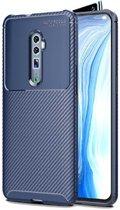 Teleplus Oppo Reno 10x Zoom Case Negro Carbon Silicone Case Navy Blue hoesje