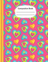 Whimsical Colorful Hearts Composition Notebook Wide Ruled Lined Paper