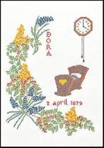 Thea Gouverneur Borduurpakket 864A Geboortetegel April - Aida stof 100% katoen