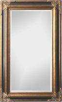 Spiegel - Paola- zwart / antiek goud - buitenmaten breed 130 cm x hoog 230 cm.