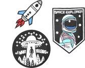 Strijk embleem 'Out of space astronaut patch set (3)' – stofapplicatie en strijk patch