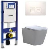 Geberit UP 100 Toiletset - Inbouw WC Hangtoilet Wandcloset - Flatline Alexandria Delta 50 Wit