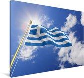 Vlag van Griekenland op een zonnige dag Canvas 120x80 cm - Foto print op Canvas schilderij (Wanddecoratie woonkamer / slaapkamer)