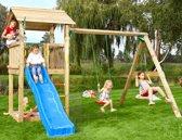 Jungle Gym - Casa 2-Swing - Houten Speelrek - Met Glijbaan - Blauw