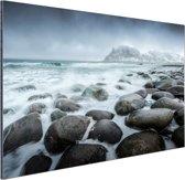 Noorse zee  Aluminium 90x60 cm - Foto print op Aluminium (metaal wanddecoratie) / Zee en Strand