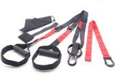 Suspension trainer Pro Set (TRX kwaliteit) Rood - met Reiszak - Vakantie - Thuis Training - Crossfit - Reis- Gym