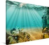 Zonnestralen schijnen onder de oceaan Canvas 140x90 cm - Foto print op Canvas schilderij (Wanddecoratie woonkamer / slaapkamer)