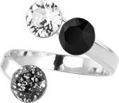 ARLIZI 1399 Ring Swarovski Kristal - Dames - 925 Sterling Zilver - 6 mm - Zwart