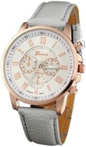 Geneva Roman Horloge - Grijs | Romeinse Cijfers | Kunstleder -  Fashion Favorite