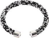 Cuff Armband Strass Zilver/Zwart