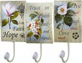 Kapstok bloemen wandhaken Wandkapstok Metaal Wit/Roze/Groen thema cadeaus woon accessoires