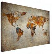 Artistieke wereldkaart op canvas groot 120x80 cm | Wereldkaart Canvas Schilderij