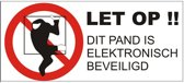 Electronisch beveiligd sticker. Beveiligingsstickers. 12 stuks wit. 10 cm x 4,5 cm
