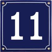 Emaille huisnummer blauw nr. 11