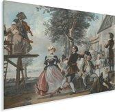 De bruiloft van Kloris en Roosje - Schilderij van Cornelis Troost Plexiglas 40x30 cm - klein - Foto print op Glas (Plexiglas wanddecoratie)