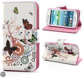 Butterfly Circles Wallet case Hoesje Samsung Galaxy S3 Mini
