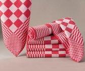 Homéé® Blokdoeken - Pompdoeken - Theedoeken rood / wit - set van 6 stuks - 65x65cm