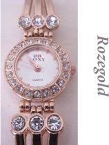 Charme Bijoux® Roségold horloge- 22 mm- prisma geslepen glas