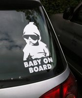 Auto vinyl sticker Baby on Board (Metallic zilver) - NBH®