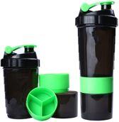 Pro fitness shake beker met twee compartimenten