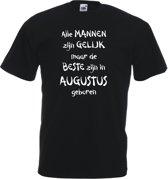 Mijncadeautje - T-shirt - zwart - maat L - Alle mannen zijn gelijk - augustus