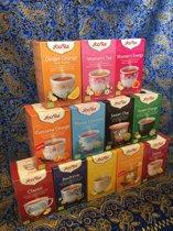 Yogi Tea Biologische thee - Top 12 smaken - 12 pakjes - Classic-Detox-Bedtime-Ginger Lemon Curcuma Orange-Green Energy-Sweet Chai-Throat Comfort-Ginger Orange Vanille